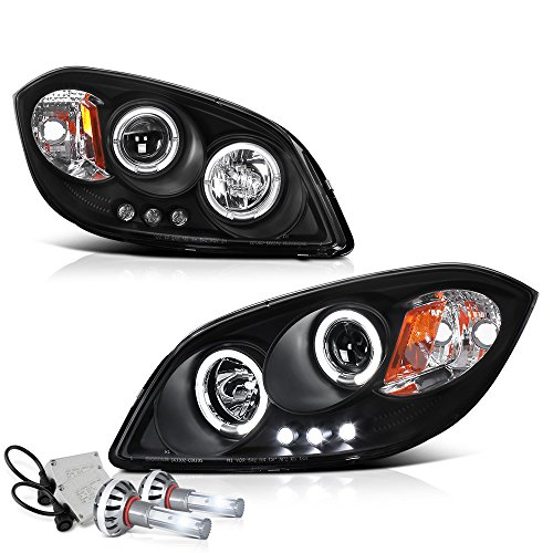 VIPMOTOZ LED Halo Ring Black Projector Headlight Headlamp Assembly For 2005-2010 Chevy Cobalt & Pontiac G5 - Built-In Diamond White CSP LED Low Beam, Driver & Passenger -