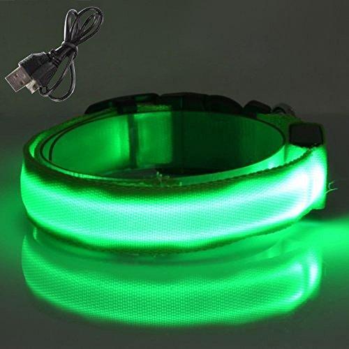 Tping Wiederaufladbar USB Leuchthalsband LEDhalsband Leuchtband Leuchtschlauch Blinkhalsband mit Verstellbar Länge - Klein, Grün