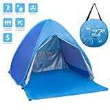 FLYTON Pop Up Beach Tent Shade Sun Shelter UV Protection Canopy Cabana 2-3 Person for Adults Baby Kids Outdoor Activities Camping Fishing Hiking Picnic Touring (Sky Blue)