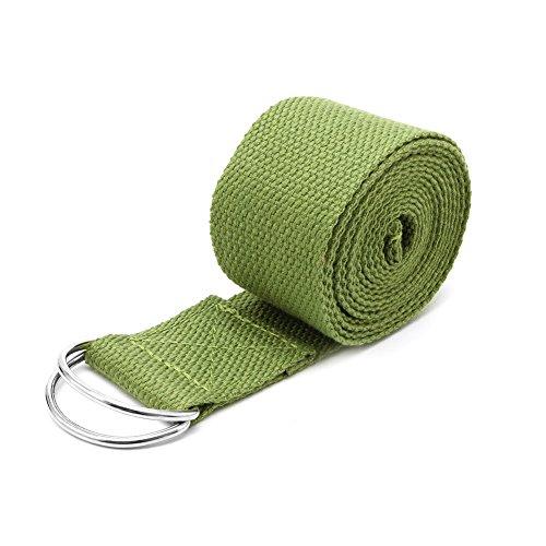 SCASTOE Sport Yoga Stretch Strap D-Ring Belts Gym Waist Leg Fitness Training Adjustable (Green)
