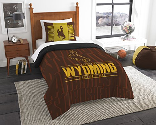 The Northwest Company Officially Licensed NCAA Wyoming Cowboys Modern Take Twin Comforter and (Cowboys Ncaa Comforter)