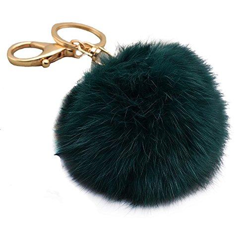 Miraclekoo Rabbit Fur Ball Pom Pom Key Chain Gold Plated Keychain with Plush for Car Key Ring or Handbag Bag Decoration (Blackish Green)