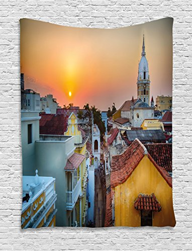 Ambesonne Sunset Tapestry, View Over The Rooftops The Old City Cartagena Cathedral Colombian Coast Picture, Wall Hanging Bedroom Living Room Dorm, 60 W X 80 L inches, Multicolor for $<!--$11.90-->