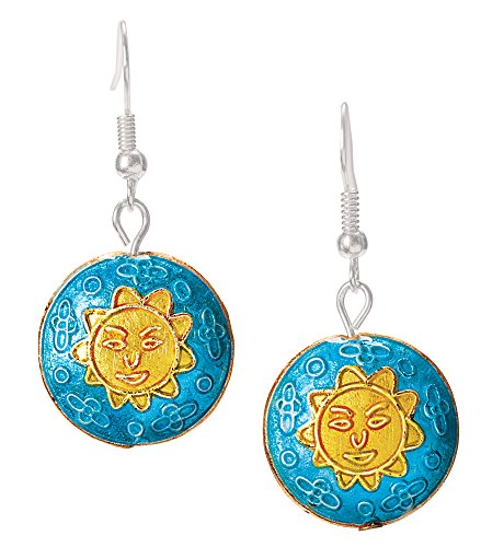 The Paragon Sun Earrings - Yellow Sun Enameled French Wire Womens Earrings