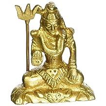 Cultural HubJ92-85GM-0098 Hindu Religion God Small Handmade Brass Sculpture For Car`office Desk , Solid Brass Sculpture/artifact of hindu religious, Vintage Decorative (Lord Shiva Sculpture)