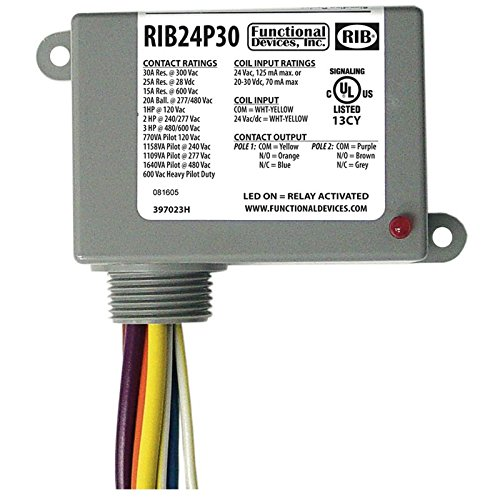 Enclosed Pre-Wired Relay, 30A@300VAC, DPDT