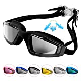 Unisex Adult Swim Goggles, No Leaking Anti-Fog UV Protection Professional Swimming Goggles For Youth Men and Women, Mirroed Lens And Wide Large Frame