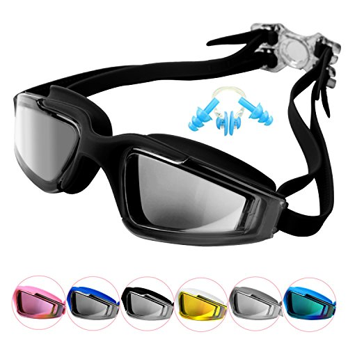 fd64be03cb16 Duckmole Anti-Fog Swimming Goggles For Adult Men and Women With Mirrored  Lens Black