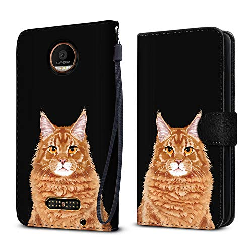 FINCIBO Case Compatible with Motorola Moto Z Force 2016 Droid Edition, Protective Canvas Pouch Case Card Holder TPU Cover for Moto Z Force (NOT FIT Moto Z) - Cute Ginger Orange Tabby Maine Coon Cat