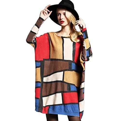 YOUJIA jersey de manga del palo con cuello del barco pullover vestidos para mujer Albaricoque