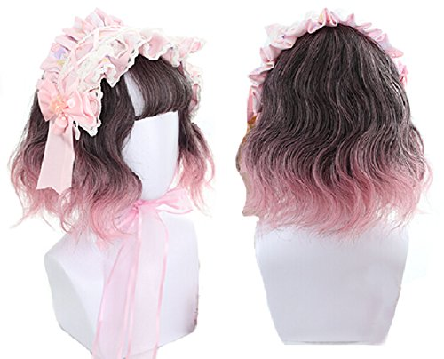 Bob Wigs for Women, Brown Pink Ombre Wavy Bob Wig with Bangs Cosplay Lolita Wigs Heat Resistant Synthetic Hair