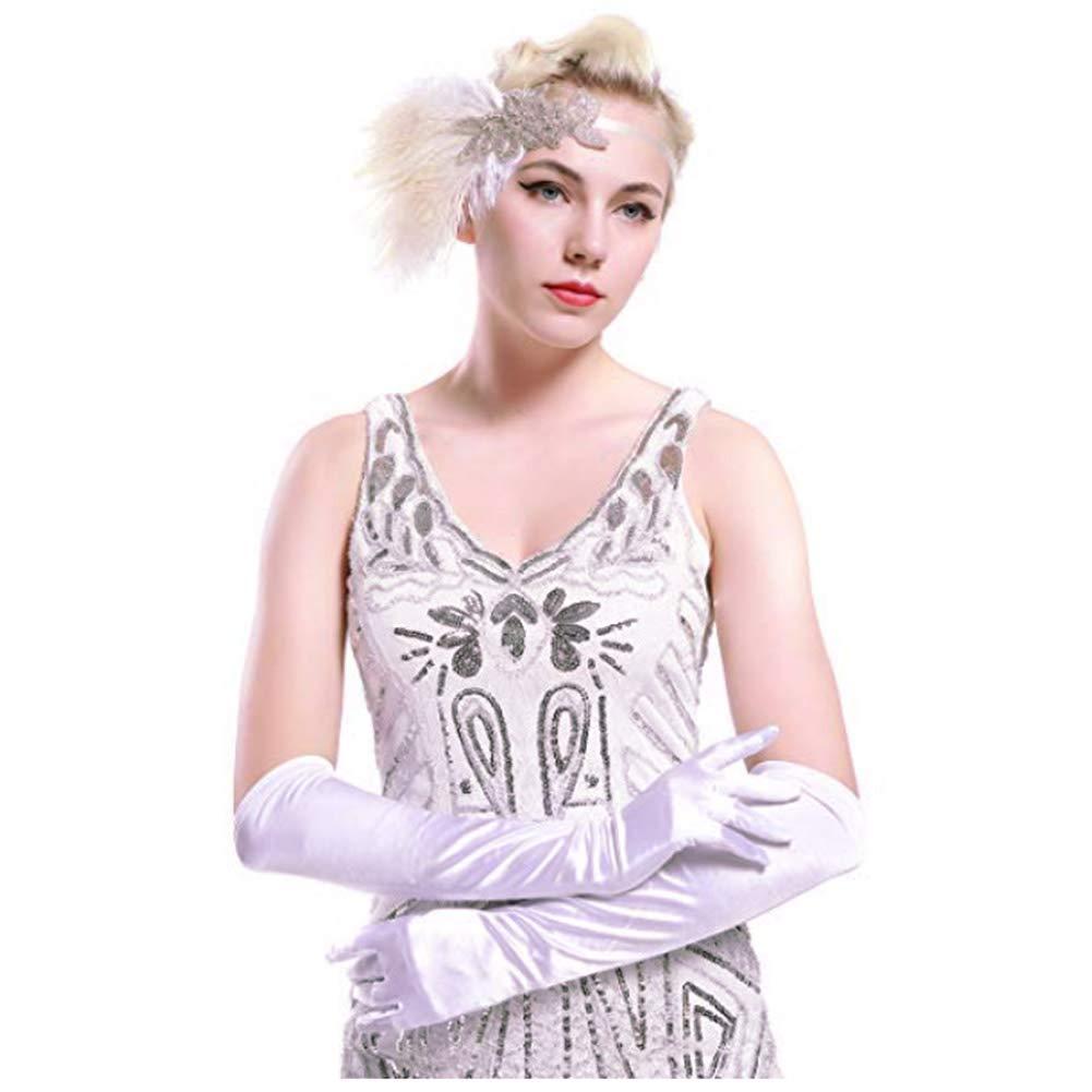 1 Guanti Coppia 48 centimetri Womens Long elegante raso Opera banchetto di nozze sera del costume di Halloween del partito del vestito operato guanti verdi