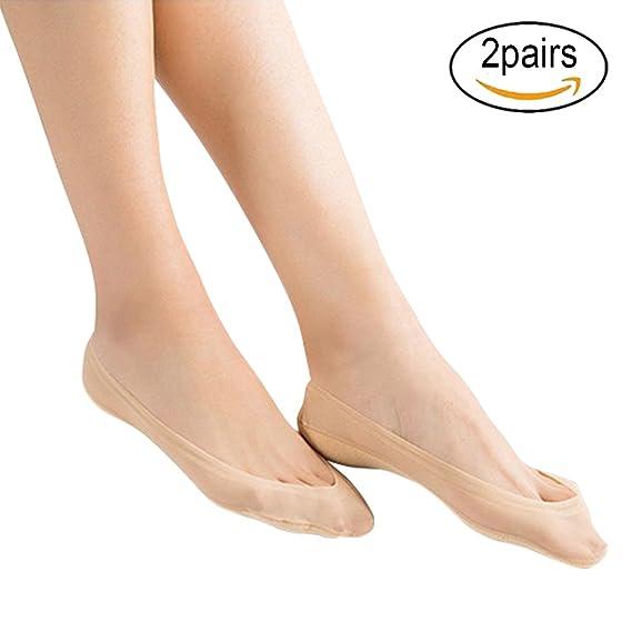 EQLEF® 2 pares de calcetines de las señoras antideslizante verano poliamida de silicona delgada Calcetines