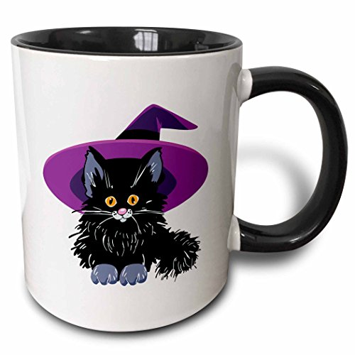 3dRose Dooni Designs Halloween Designs - Cute Adorable Baby Black Kitten Kitty Cat Wearing Purple Witch Hat For Halloween Spooks - 15oz Two-Tone Black Mug (mug_153701_9)