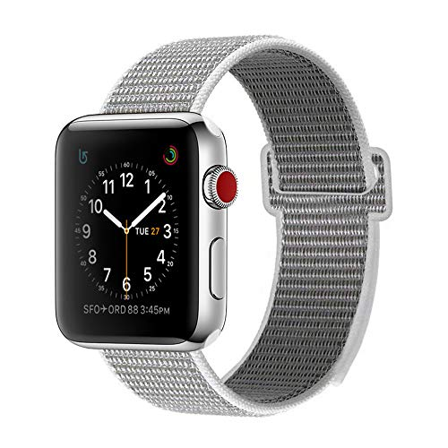 BEA FASHION Sport Band Compatible iWatch 42mm Soft Lightweight Breathable Woven Nylon Sport Loop Band Replacement Strap for iWatch Series 3 Series 2 Series 1 Seashell, 42mm - Band Fashion The