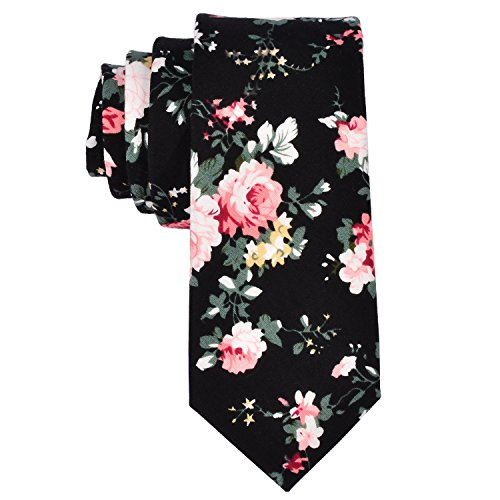 (EasyJoy Skinny Ties Men's Cotton Printed Floral Necktie (color 7))