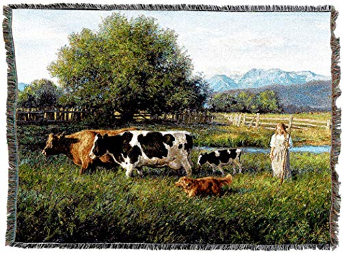 (Pure Country Weavers | Country Girl and Cows Woven Tapestry Throw Blanket Cotton with Fringe Cotton USA 72x54)