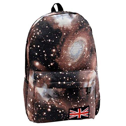 Nalmatoionme moda unisex Galaxy modello viaggi zaino tela Leisure scuola per zaino (marrone)