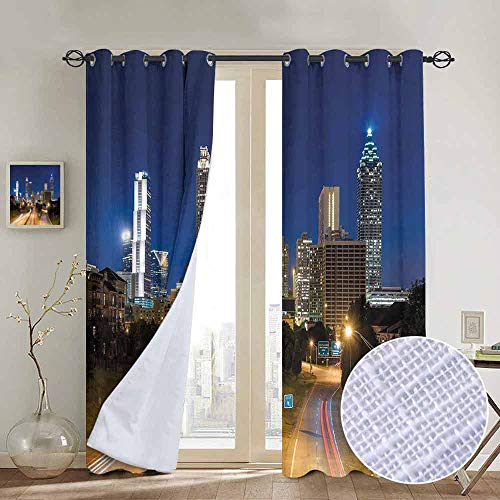 (NUOMANAN Decorative Curtains for Living Room Urban,Image of Atlanta Skyline Twilight with Highway Buildings Skyscrapers Blurred Motion,Multicolor,Blackout Draperies for Bedroom 120