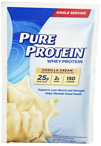 - Pure Protein Powder, Whey, Great for Meal Replacement Shakes, Low Carb, Gluten Free, Vanilla Cream, 1.37 oz Single Serve Packets, 7 Count