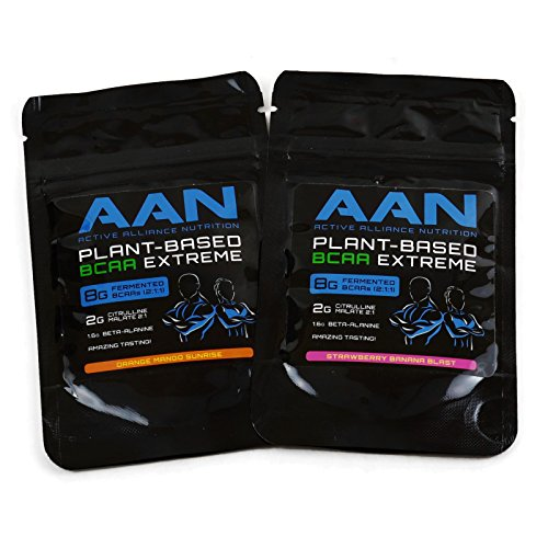AAN's Plant-Based BCAA Powder Drink, 2 Servings - Great Tasting, 8gm Fermented BCAAs, 2gm Citrulline Malate, 1.6gm Beta-Alanine, for Intra-workout, Post-Workout and Pre-Workout Protein Building