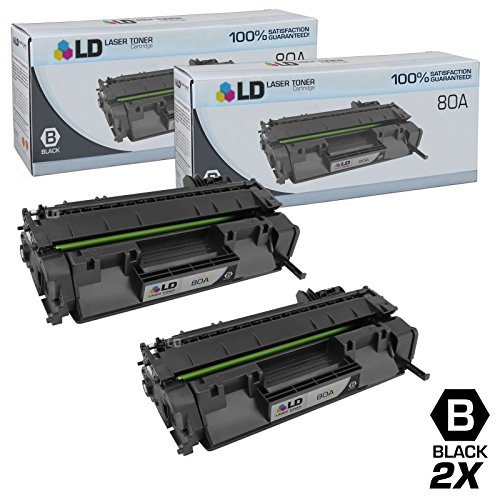 LD Compatible Replacements for Hewlett Packard CF280A HP 80A Set of 2 Black Laser Toner Cartridges for use in the LaserJet Pro 400 M401dn, 400 M401dne, 400 M401dw, 400 M401n, 400 M425dn