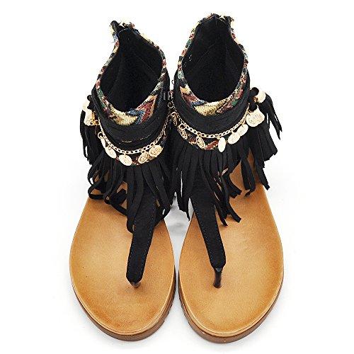 Sconosciuto 8729 - Sandalias de vestir de piel sintética para mujer negro negro IT 38 negro