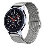 Fullife Galaxy Watch 42mm Band, 20mm Mesh Loop Stainless Steel Replacement Strap Compatible for Galaxy Watch,Gear S3, Huawei Watch 2 Classic, Moto 360 2nd Gen 46mm (Silver)