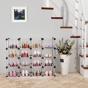 SONGMICS Shoe Rack,16-cube DIY Shoe Storage Organizer Units, Plastic Modular Storage Organizer Cabinet Translucent White ULPC44S