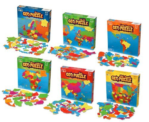 GeoToys - Set of 6 GeoPuzzles in Individual Boxes - Educational Kid Toys for Boys and Girls, 50+ Piece Geography Jigsaw Puzzles, Jumbo Size Kids Puzzles - Ages 4 and up