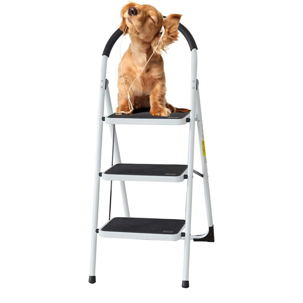 Livebest Folding 3 Step Step Ladder Portable Step Stool with Soft Grip Handle and Anti-Slip Wide Pedal 330Lbs Load Capacity Indoor,Steel