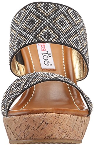 Hazel Lips 2 Wedge Women's Black Sandal Too Too BIqwBxda