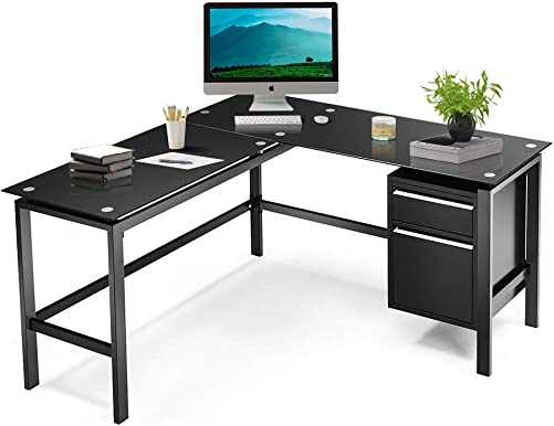 Black L Shaped Computer Desk