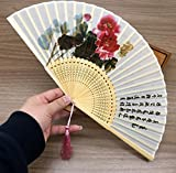 White Red Oriental Chinese 100% Silk Bamboo Flower Pattern Fold Hand Pocket Fan Wedding Birthday Party Favors