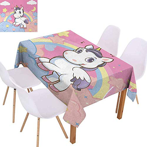 - UHOO2018 Teen Girls,Rectangle Tablecloth,Unicorn with Rainbow and Music Notes Clouds in The Sky Decorative Art Print,Great for Buffet Table, Parties,Pink Yellow,55
