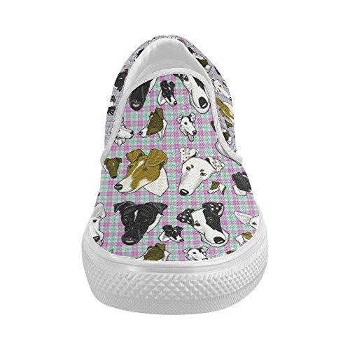 D-story Op Maat Gemaakte Soepele Fox-terrier Geruite Pastel Dames Instappers Damesschoenen Fashion Sneaker