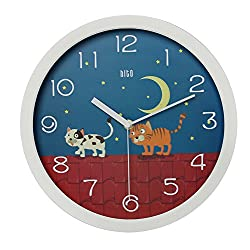 hito Modern Colorful Silent Non-ticking Nursery Wall Clock for Kids- 12 inches (Cats on roof)