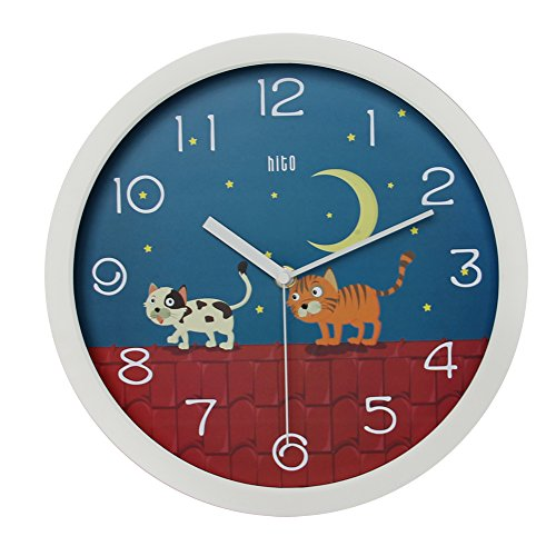 hito Silent Kids Wall Clock Non Ticking 12 inch Excellent Accurate Sweep Movement, Modern Decorative for Kids Room, Kitchen, Living Room, Bathroom, Bedroom, Office (Cats on roof)