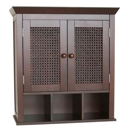 Evelyn Two-Door Wall Cabinet with Cubbies, Espresso by Elegant Home Fashions