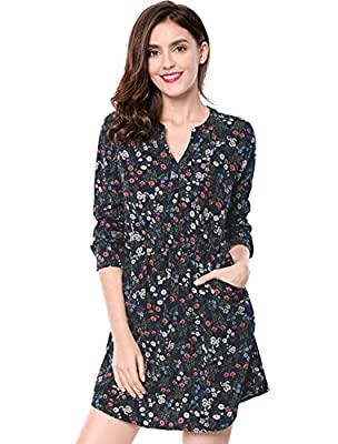 Allegra K Women's Button Closure Floral Print V Neck Pocket Dress