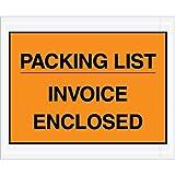 Box Partners PL417 Poly Face Envelope, Legend ''INVOICE ENCLOSED'', 7'' x 5'', 2 mil Thick, Black on (PL417)