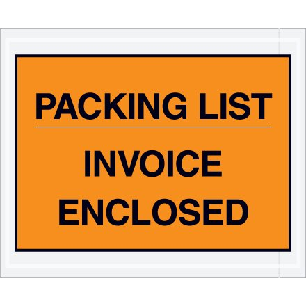 Box Partners PL417 Poly Face Envelope, Legend ''INVOICE ENCLOSED'', 7'' x 5'', 2 mil Thick, Black on (PL417) by Box Partners (Image #1)