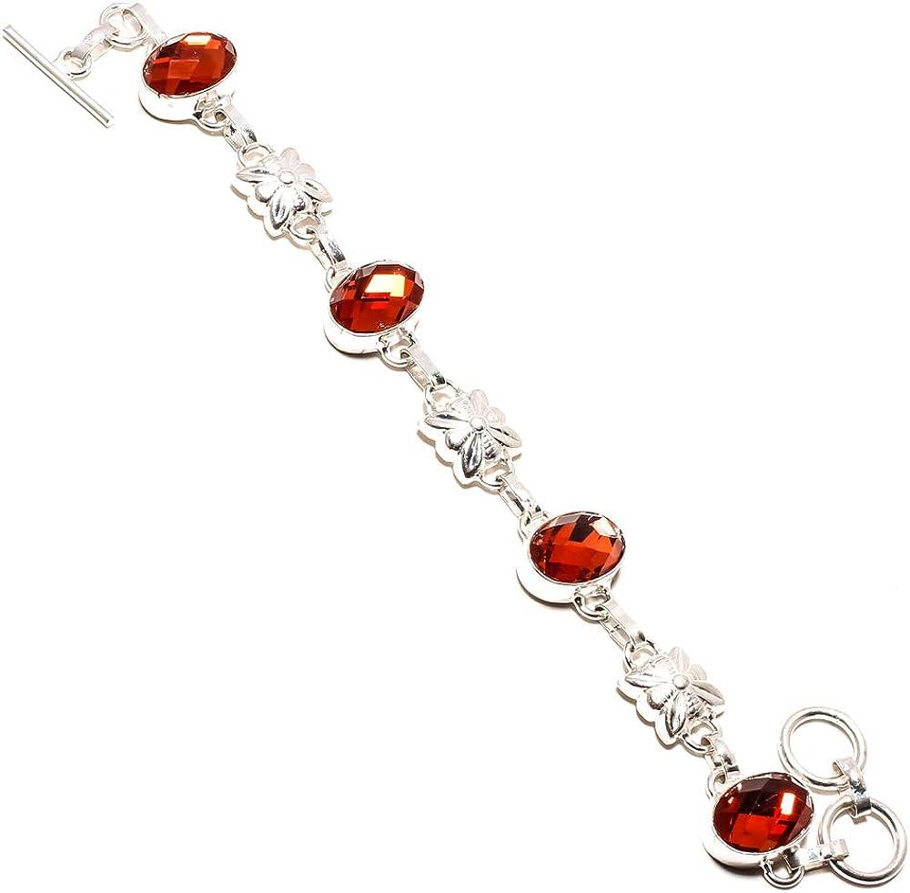 jewels paradise SF-1240 - Pulsera de Plata de Ley 925 con Piedras Preciosas de topacio místico de Color Naranja facetado, Ajustable, Flexible