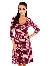 Zeta Ville Womens V-neck 50s style Polka Dot Dress Spot Circle Summer Dress 017z