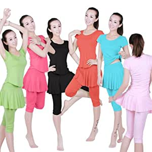 Women's Summer New Short Skirts Pants Yoga Clothes Dance Dress Suit Square Dance Clothes Latin Dance Clothes -Watermelon Red (S)