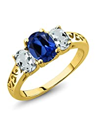 2.46 Ct Blue Simulated Sapphire Sky Blue Aquamarine 18K Yellow Gold Plated Silver 3-Stone Ring