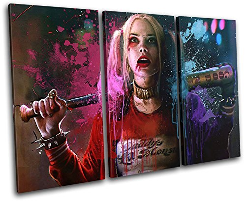 Bold Bloc Design – Harley Quinn Suicide Squad Movie Greats 90x60cm TREBLE Canvas Art Print Box Framed Picture Wall Hanging – Hand Made In The UK – Fra…
