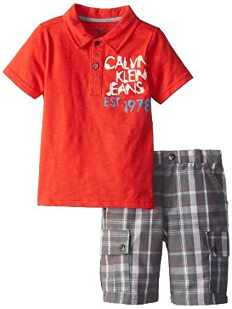 Calvin Klein Little Boys' Cargo Shorts, Orange, 7