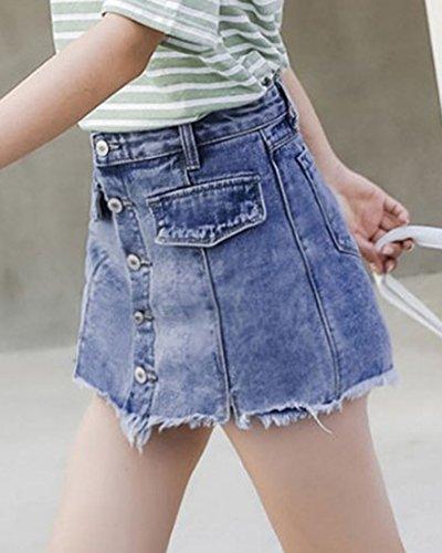Une Femme Mengmiao Frange Haute Bleu1 Demi Jupe Taille Ligne tudiant Courte RpTn5qwp