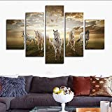 H.COZY Unframed 5 pcs High Quality Cheap Art Pictures Running Horse Large HD Modern Home Wall Decor Abstract Canvas Print Oil Painting (No Frame) FCR13 50 inch x30 inch